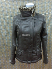 suede bonded printed teddy fur jacket