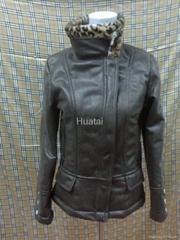 suede bonded printed teddy fur jacket