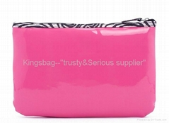 PVC cosmetic bag pink color, vinyl makeup bag ,gift bag