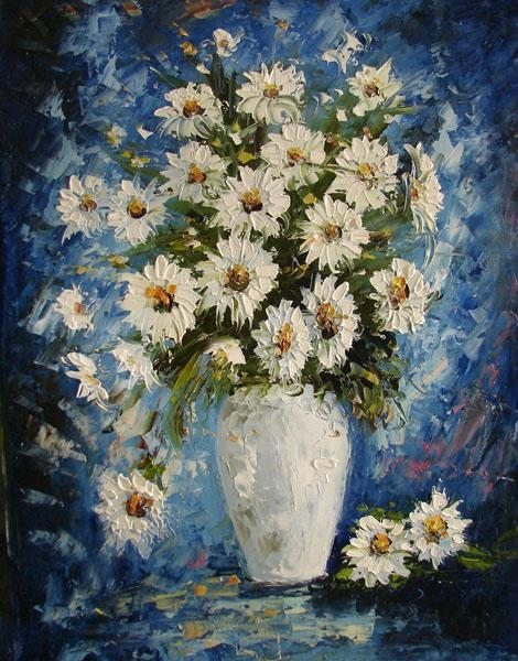 Decoration oil painting on canvas flowers opk0011 for How to paint flowers with oil paint