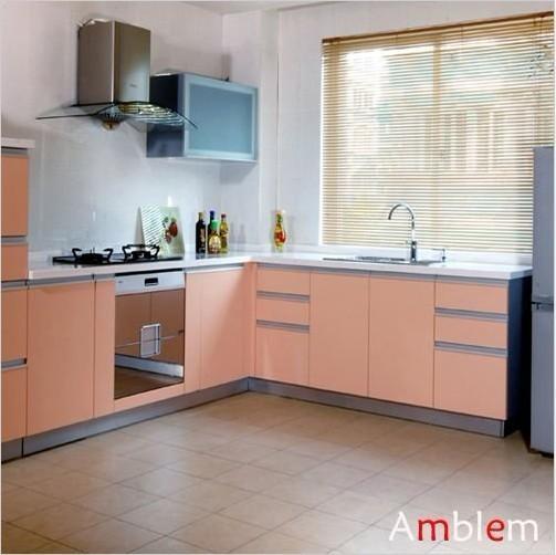 L shape melamine kitchen cabinet m02 amblem china for A one kitchen cabinets ltd
