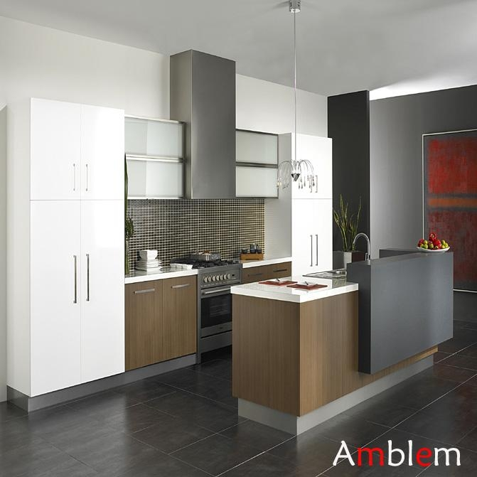 Modern wooden melamine kitchen cabinet amblem china for China kitchen cabinets direct