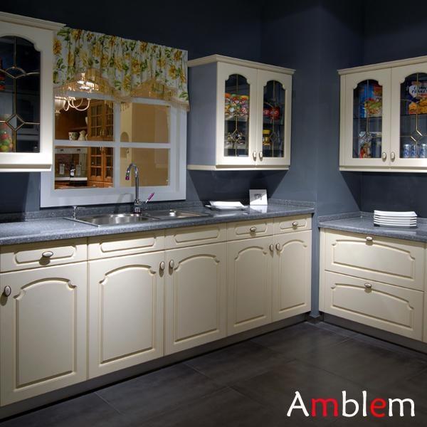 Modern kitchen cabinet design amblem china manufacturer for Modern kitchen cabinet manufacturers
