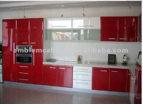 Red lacquer kitchen cabinet amblem china manufacturer - Red kitchen cabinets ...