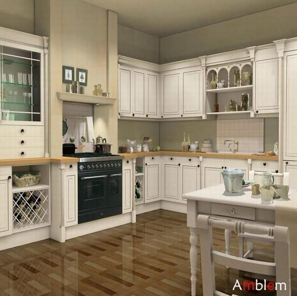 White Solid Wood Kitchen Cabinet Amblem China Manufacturer