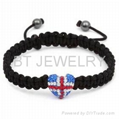 Union Jack Shamballa Bracelet UK Flag Heart Jewelry