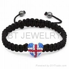 Union Jack Shamballa Bracelet UK Flag Heart Jewelry