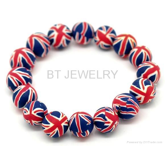Clay Beads Union Jack Bracelet 12mm 1
