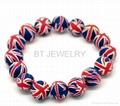 Clay Beads Union Jack Bracelet 12mm