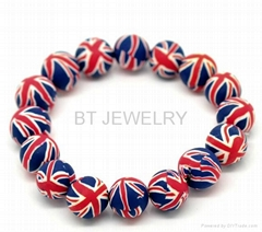 Clay Beads Union Jack Bracelet 12mm