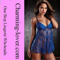 sexy lingerie Blue lace babydoll lingeries wholesale