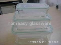 pyrex glass food container/glass  storage set  rectangle for kitchen  1