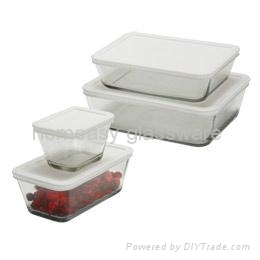 pyrex glass food container/glass  storage set  rectangle for kitchen  2