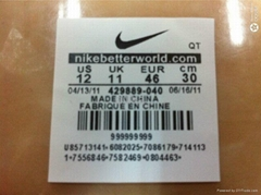 tpu printed labels for garments or shoes