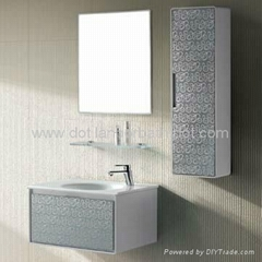 New arrival modern double vessel sinks glass bathroom cabinet vanity set