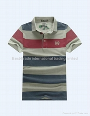 Men's new fashion striped polo T shirt