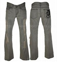 Wrinkled Decolored Men's Damage Jeans