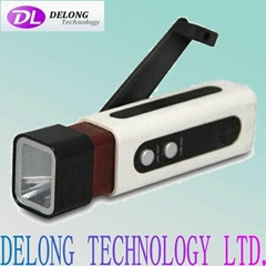 FM/AM radio led dynamo torch with DC jack and mobile phone port