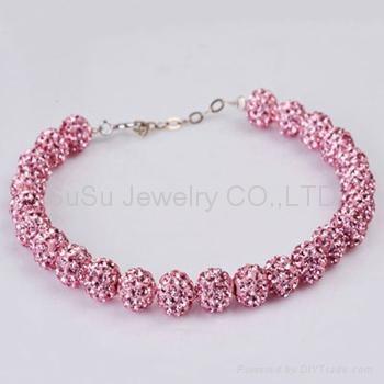 Shamballa Bracelets Wholesale Pink Crystal Ball Shamball Braclet 1