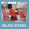 Two Side Extention  MDF Lets Glass Dining Table 3