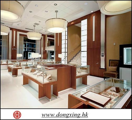 Modern wood-glass jewelry display showcase 1