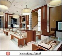 Modern wood-glass jewelry display showcase