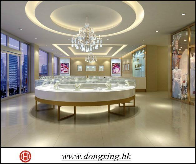 Modern wood-glass jewelry display showcase 3