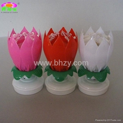 Rotating-lotus musical gift birthday candle