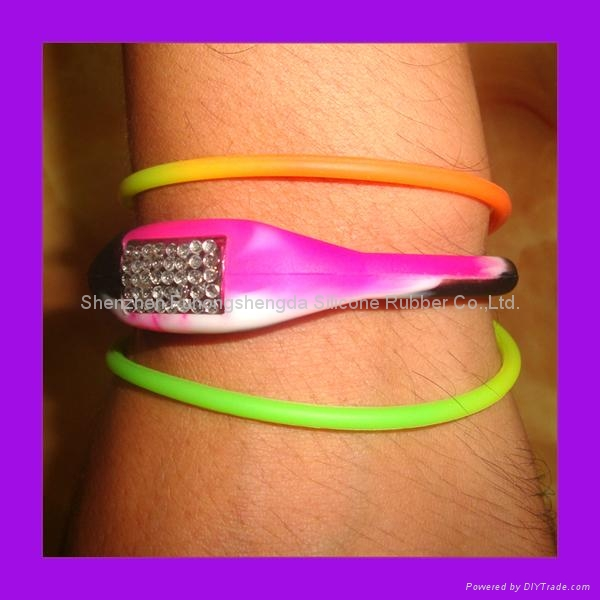 Multicolored Tie Dye Silicone Ion  Wrap Watch 1