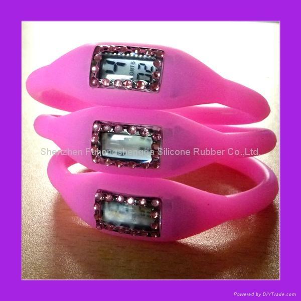 Pink Rhinestone Silicone Negative Ion Watch  1