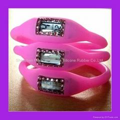 Pink Rhinestone Silicone Negative Ion