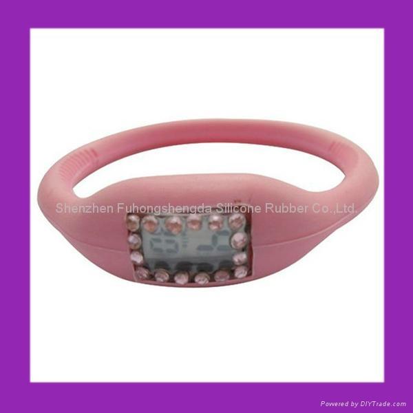 Pink Rhinestone Silicone Negative Ion Watch  2