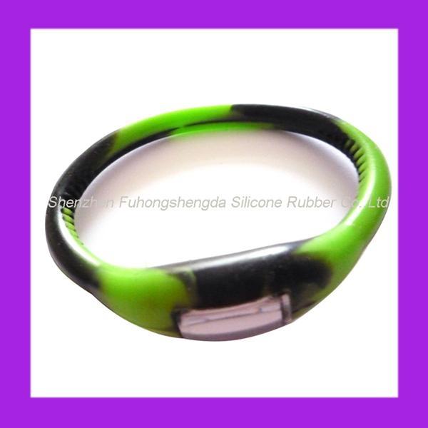 Pink Rhinestone Silicone Negative Ion Watch  4