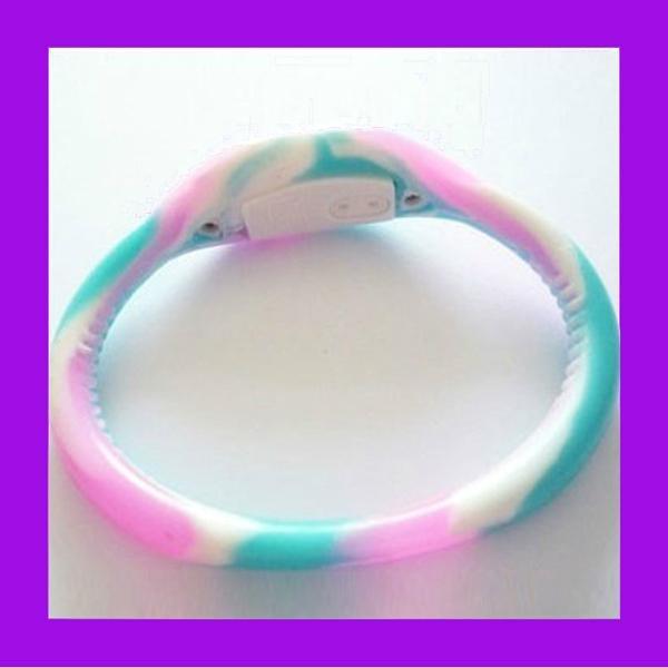 Pink Rhinestone Silicone Negative Ion Watch  5