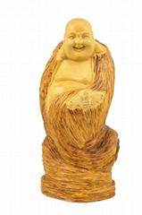 hand carved Boxwood Wealth Maitreya Buddha statue