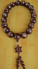 barrel beads hand carved India lobular rosewood rosary