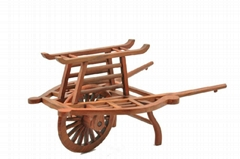 wood craft/Rosewood hand carved single wheel cart
