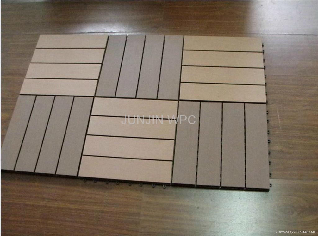 Wpc wood plastic composite diy floor for patio outdoors for Plastic wood flooring