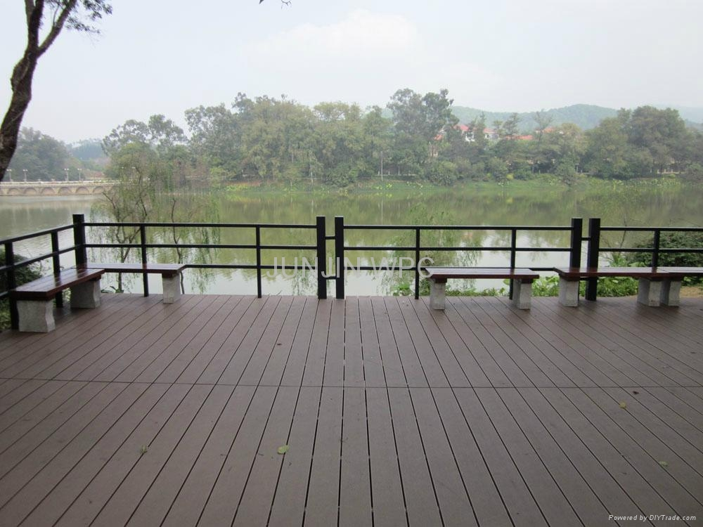 Wpc wood plastic composite outdoor decking jjfl2 junjin china manufacturer waterproof for Exterior wood decking materials