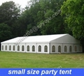 small party tent 10x21m with folding tables and chairs