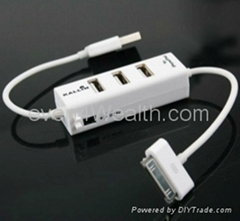 3 Ports USB2.0 Hub for iPhone iPad iPod Charger