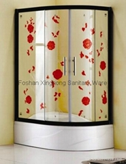Handicraft glass shower enclosure with 300mm acrylic shower tray