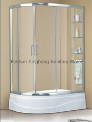 Knife type shower enclosure with 300mm acrylic shower tray