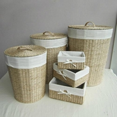 Water Hyacinth Laundry Hampers with Metal Frame, Set of 6 and Natural Color