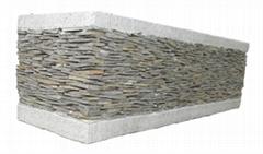 Stacked stone window box planter