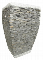 Stacked stone garden flower pot