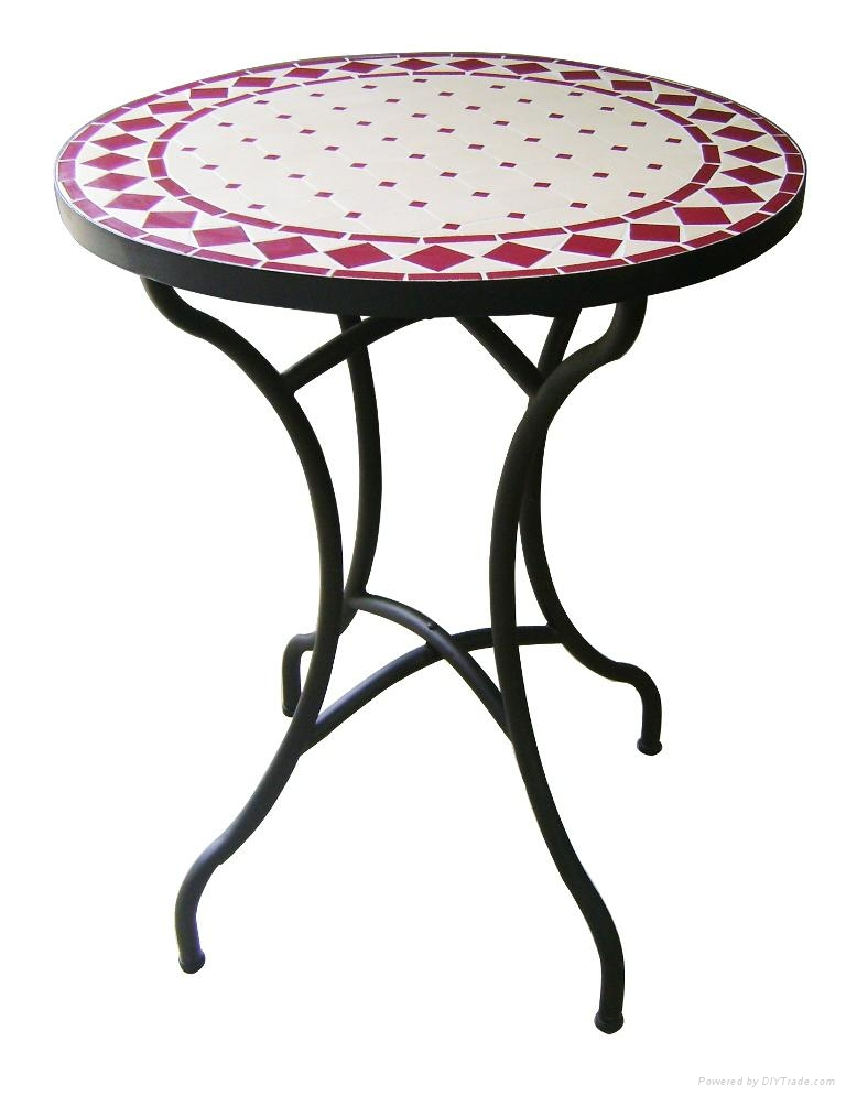 Wrought Iron And Ceramic Mosaic Round Dining Table 1 ...