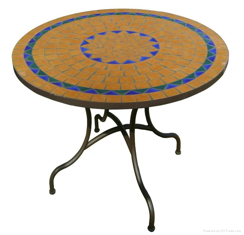 wrought iron and ceramic mosaic round dining table triquimex vietnam manufacturer outdoor. Black Bedroom Furniture Sets. Home Design Ideas