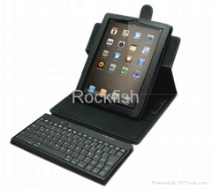 Leather case of Ipad 3 with Bluetooth keyboard