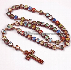 cord rosary,Saints Rosary Necklace,wooden rosary necklace,saint wood rosary